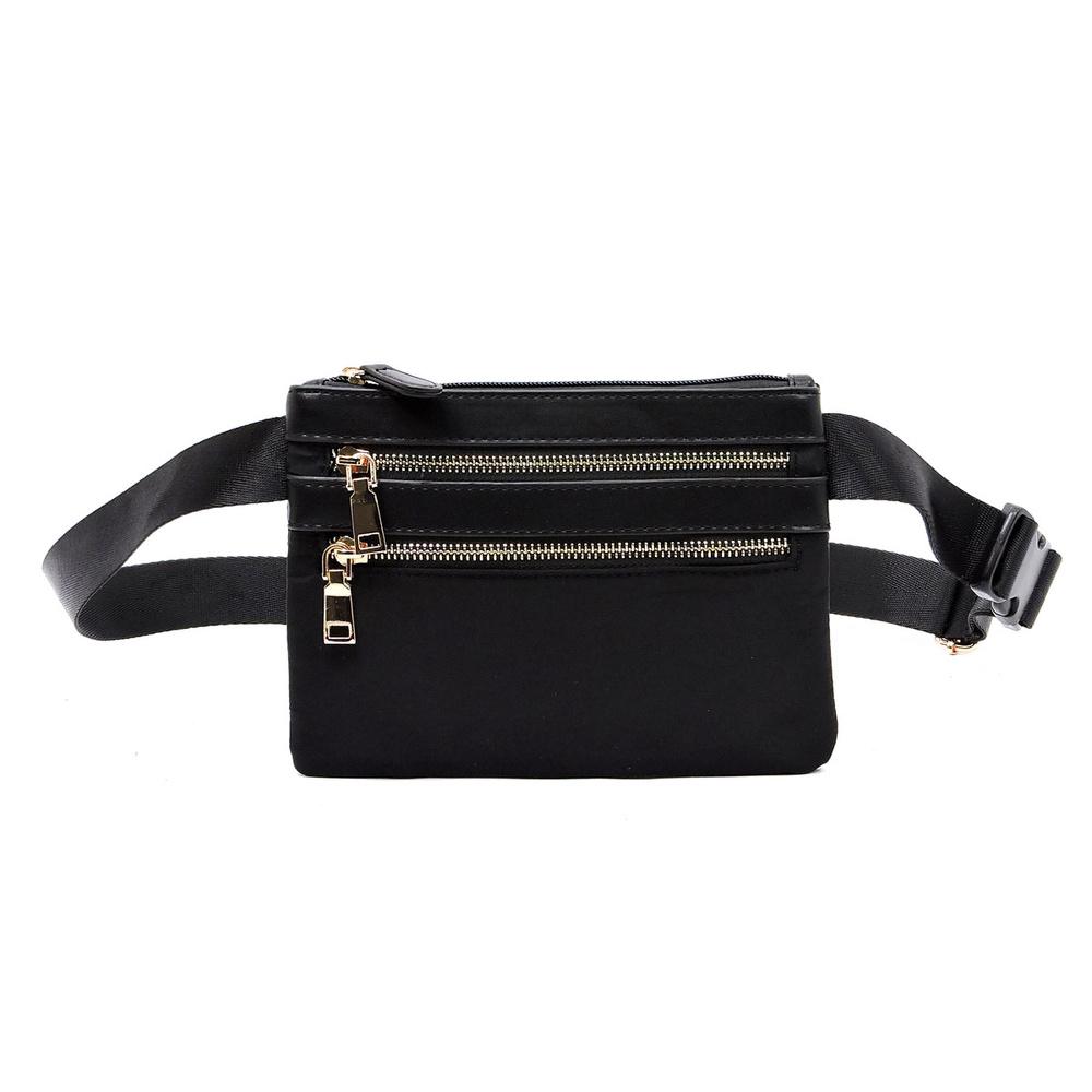 nylon multi zip waist bag - cross body bags