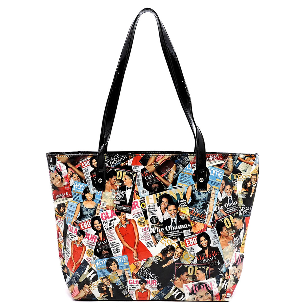 magazine cover collage tote fashion handbags onsale