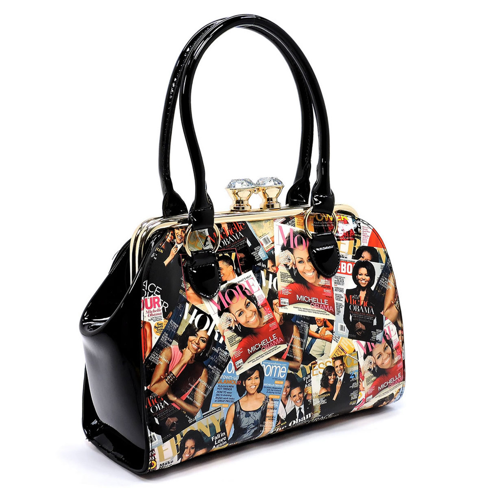 magazine cover collage kiss lock satchel fashion