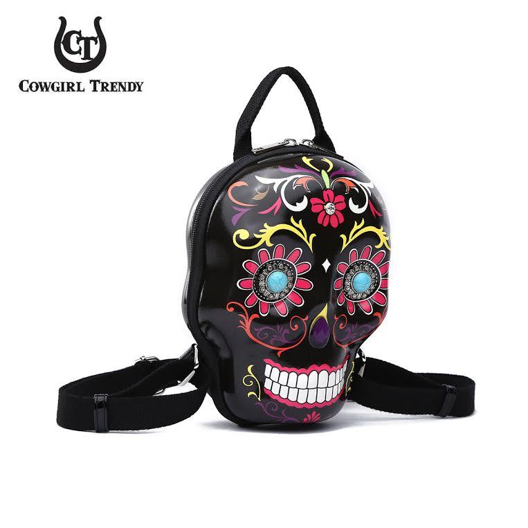 Black 3D Hardshell Box Sugar Skull Backpack Western Style