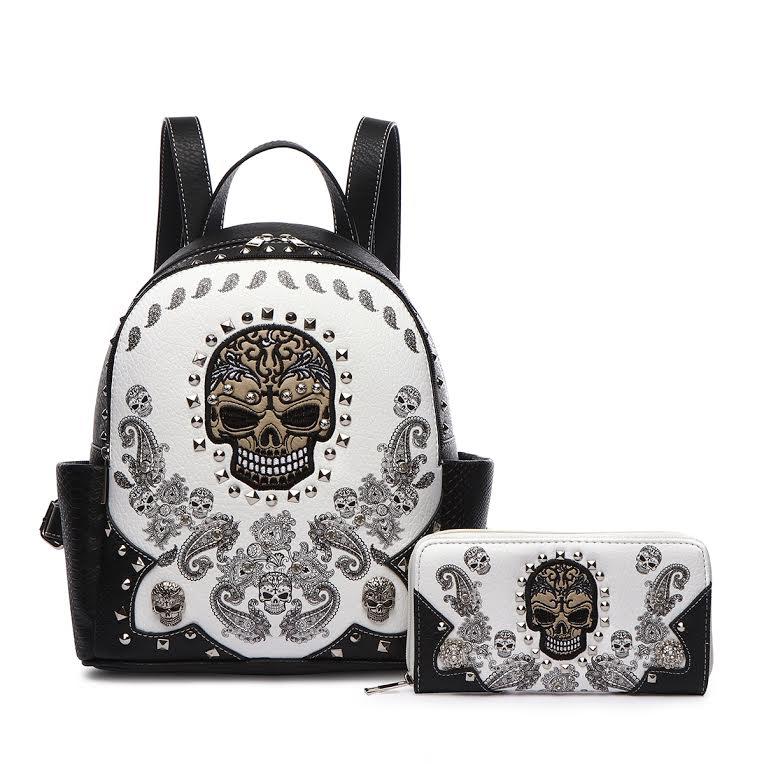 Sugar Skull 2 in 1 Backpack Western Style & Crown Handbags