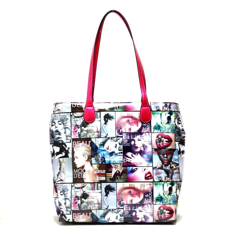 fashion handbag  with magazine print  - fashion handbags