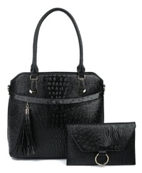 Ostrich Croc 2-in-1 satchel & Wallet Set