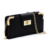 Fashion Turn Lock Crossbody Wallet