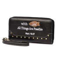 Bible Verse Double Zip Around Wallet Wristlet