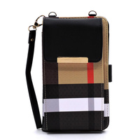Tartan Plaid Check Bifold Wallet Crossbody Cell Phone Case