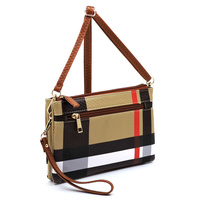 Tartan Plaid Check Multi Compartment Crossbody Clutch Bag