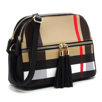 Plaid Check Multi Compartment Crossbody Bag