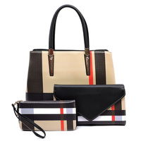 Plaid Check Print Top Handle 3-in-1 Satchel
