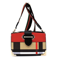 Tartan Plaid Check Colorblock Crossbody Satchel