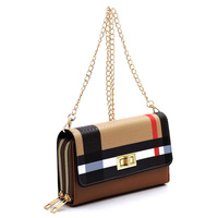 Twist Lock Double Zip Around Crossbody Wallet