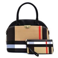 Plaid Check 2-in-1 Dome Satchel