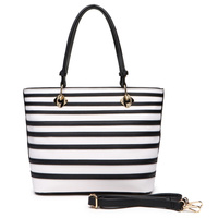 Fashion Striped Shopper Satchel