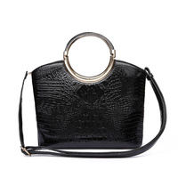 ROUND HANDLE CROC SATCHEL