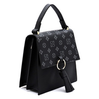 Monogram Ring Tassel Flap Crossbody Satchel