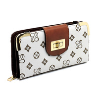 Monogrammed Turn Lock Wallet