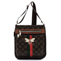 Queen Bee Canvas Stripe Monogrammed Crossbody Bag