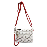 Monogrammed Multi Zip Clutch Crossbody Bag Wristlet