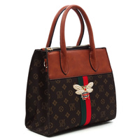Queen Bee Stripe Monogram Padlock Satchel