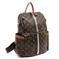 Monogrammed Striped Convertible Backpack