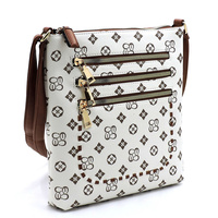 Whipstitch Multi Zip Pocket Crossbody Bag