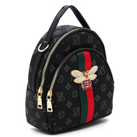 Queen Bee Stripe Monogram Convertible Backpack Satchel