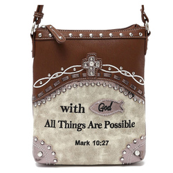 Bible Verse W/ concealed Gun pocket Messenger Bag