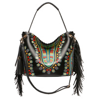 Bohemian Dashiki Ostrich Fringe Shoulder Bag