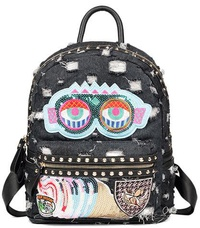 Vintage Denim Embroidered Sequin Patch Backpack