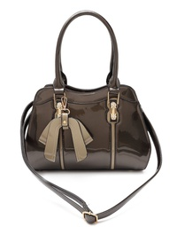 Faux grossy Leather Bow Satchel