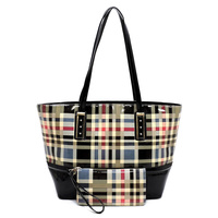 Glossy Plaid Check 2-in-1 Shopper