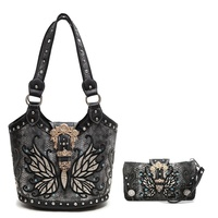 Butterfly W/Gold Buckle Tote Handbag