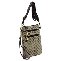 Check Multi Zipper Crossbody Bag