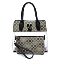 Diamond Check See Thru Padlock 2-in-1 Satchel