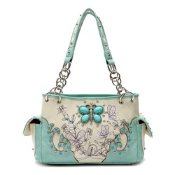 Turquoise Butterfly Western Handbag