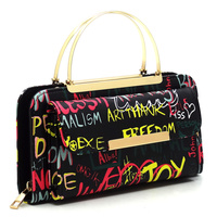 Graffiti Print Round Top Handle Crossbody Bag Clutch Wallet