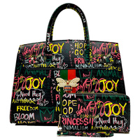 Multi Graffiti Queen Bee Stripe 2-in-1 Satchel