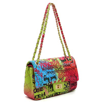 Multi Graffiti Print Quilted Classic Shoulder Bag
