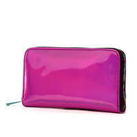 Hologram Zip Around Wallet with Rainbow Zipper