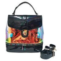 Hologram See Thru Convertible 2-in-1 Backpack Satchel