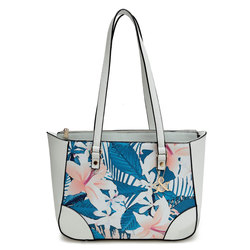 Flower Print With Trim Tote Bag