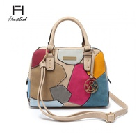 HUE & ASH PATCH WORK BOX SATCHEL HANDBAG