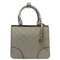 Patent Faux Leather Quilted Top Handle Day Tote  Back