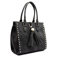 TASSEL STUDDED BOX SATCHEL HANDBAG