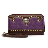 Western Flower Concho Zip Around Wallet