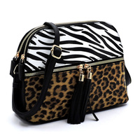 Leopard Zebra  Multi Compartment Dome Crossbody Bag