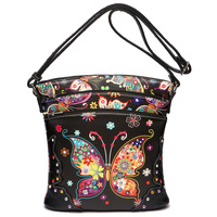 Black Butterfly Concealed Carry Messenger Bag