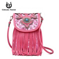 Western Concho Fringe Cell Phone Purse Crossbody Bag