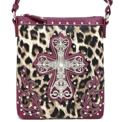 Leopard Western W/Cross Messenger Bag