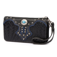 Western Concho Flower Double Zip Around Wallet Wristlet